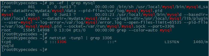 查看MySQL服务进程和端口监听情况