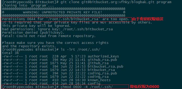 设置git的SSH登录认证的RSA私钥权限为0600